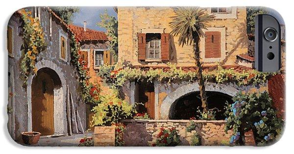 Village Paintings iPhone Cases - La Casa E La Palma iPhone Case by Guido Borelli