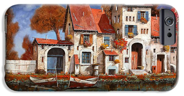 Boat Paintings iPhone Cases - La Cascina Sul Lago iPhone Case by Guido Borelli