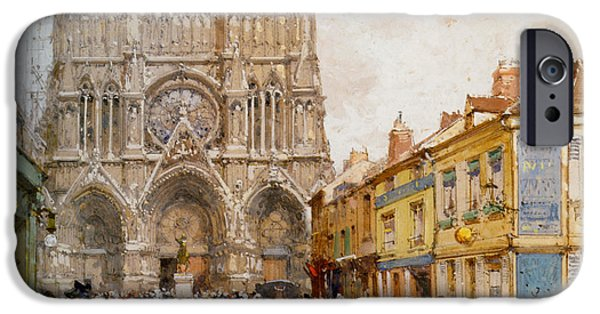 Eugene Galien-laloue iPhone Cases - La Cathedrale de Reims iPhone Case by Eugene Galien Laloue