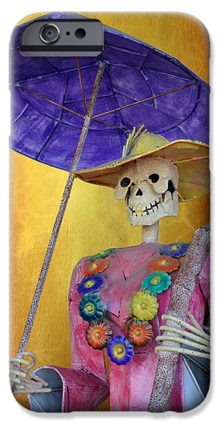 Costume iPhone Cases - La Catrina with purple Umbrella iPhone Case by Christine Till