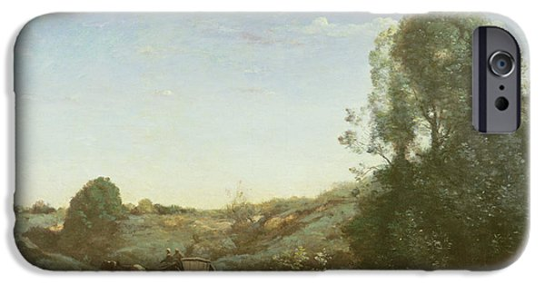Horse And Cart iPhone Cases - La Charette, Memory Of Marcoussis Oil On Canvas iPhone Case by Jean Baptiste Camille Corot