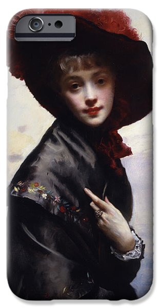 Feathered Hat iPhone Cases - La Coquette iPhone Case by Gustave Jean Jacquet