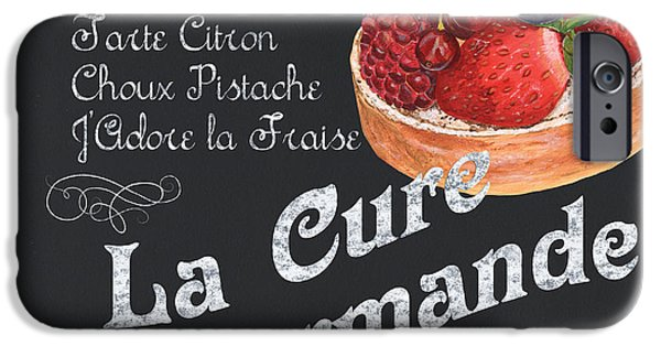 Graphic Design Paintings iPhone Cases - La Cure Gourmande iPhone Case by Debbie DeWitt