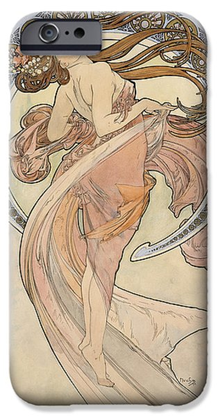 Young Adult iPhone Cases - La Danse, 1898 Watercolour On Card iPhone Case by Alphonse Marie Mucha