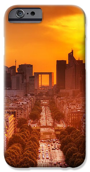 La Defense and Champs Elysees at sunset iPhone Case by Michal Bednarek