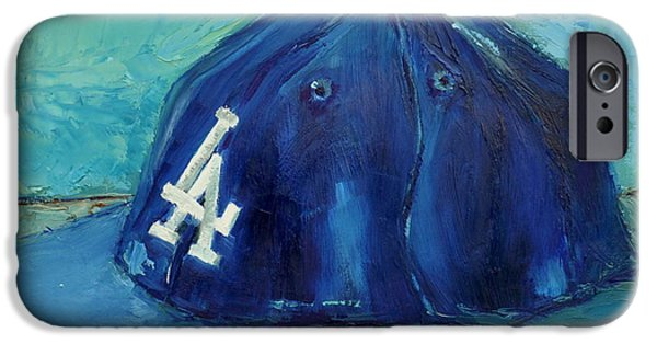Baseball Art iPhone Cases - LA Dodgers iPhone Case by Lindsay Frost