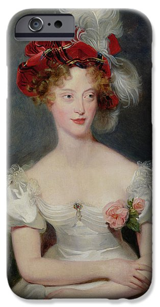 Duchess Photographs iPhone Cases - La Duchesse De Berry 1798-1870 C.1825 Oil On Canvas iPhone Case by Sir Thomas Lawrence