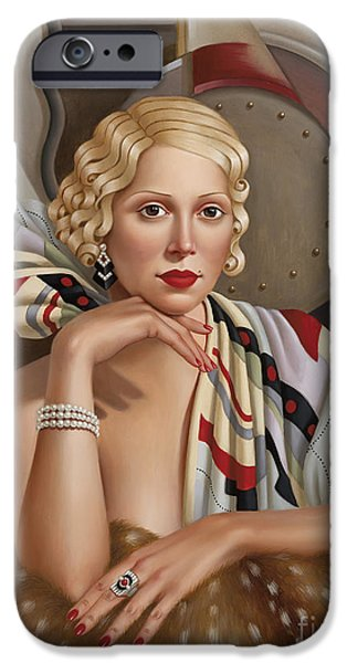 Shawl iPhone Cases - La Femmeen Soiehi  iPhone Case by Catherine Abel