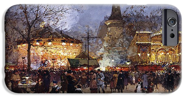 Signed Drawings iPhone Cases - La Fete Place de la Republique Paris iPhone Case by Eugene Galien-Laloue