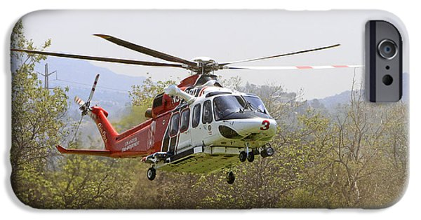Aviation Pyrography iPhone Cases - L.A Fire Department Helicopter Landing iPhone Case by Shoal Hollingsworth