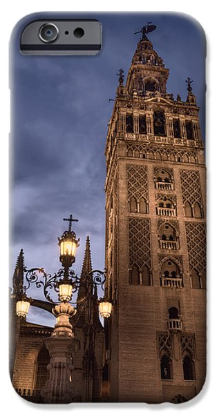 Night Lamp iPhone Cases - La Giralda Night iPhone Case by Joan Carroll