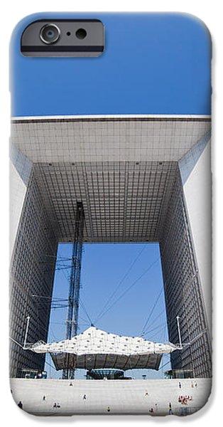 La Grande Arch in La Defense business district Paris France iPhone Case by Michal Bednarek