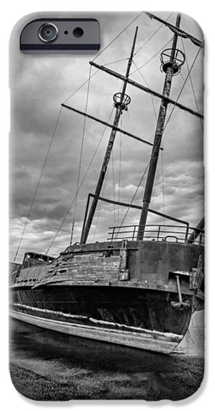Pirate Ships iPhone Cases - La Grande Hermine BW iPhone Case by Steve Harrington