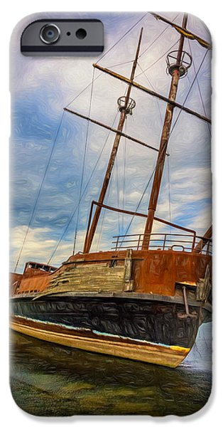 Pirate Ship iPhone Cases - La Grande Hermine - Paint iPhone Case by Steve Harrington