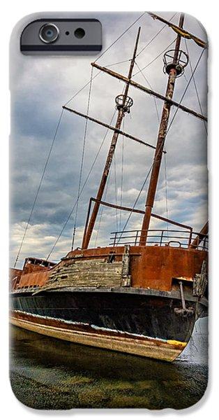 Pirate Ships iPhone Cases - La Grande Hermine iPhone Case by Steve Harrington