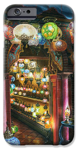 Moroccan iPhone Cases - La Lamparareia en la Noche Albacin Granada iPhone Case by Richard Harpum