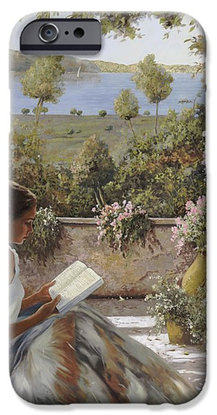Ladies Paintings iPhone Cases - La Lettura Allombra iPhone Case by Guido Borelli