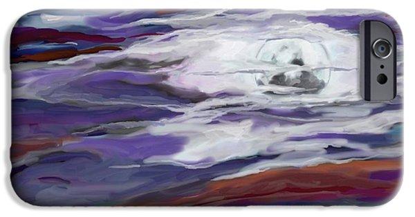 Turbulent Skies Digital Art iPhone Cases - La Luna 2 iPhone Case by Jeanne Fischer