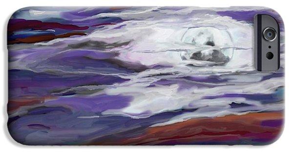 Turbulent Skies iPhone Cases - La Luna 2 iPhone Case by Jeanne Fischer