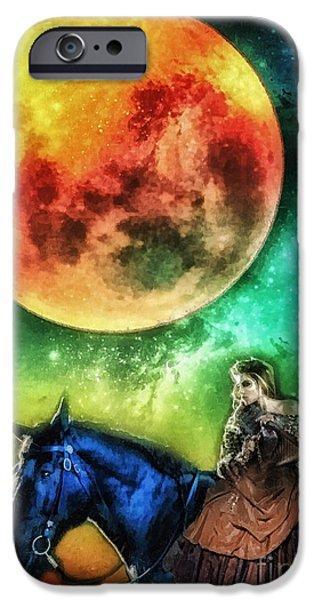 Horse iPhone Cases - La Luna iPhone Case by Mo T