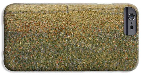 Seurat iPhone Cases - La Luzerne Saint-Denis iPhone Case by Georges Seurat