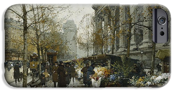 Signed Drawings iPhone Cases - La Madelaine Paris iPhone Case by Eugene Galien-Laloue