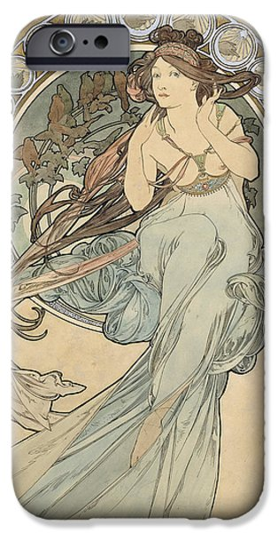 Young Adult iPhone Cases - La Musique, 1898 Watercolour On Card iPhone Case by Alphonse Marie Mucha