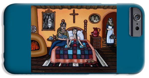Medicine Paintings iPhone Cases - La Partera or The Midwife iPhone Case by Victoria De Almeida