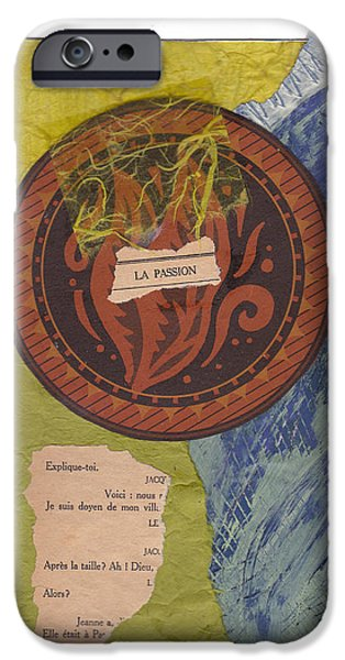 Mixed Media Pastels iPhone Cases - La Passion iPhone Case by Anne Katzeff