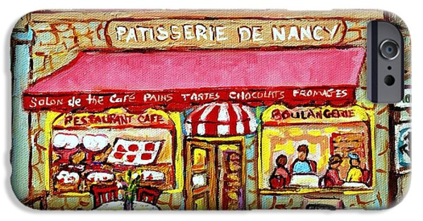 Best Sellers -  - French Open iPhone Cases - La Patisserie De Nancy French Pastry Boulangerie Paris Style Sidewalk Cafe Paintings Cityscene Art C iPhone Case by Carole Spandau