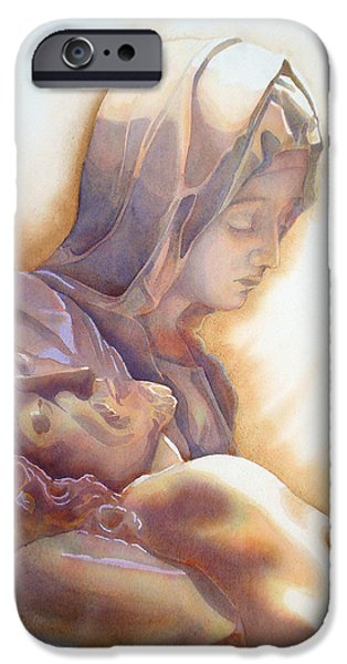 Unique Drawings iPhone Cases - LA PIETA By Michelangelo iPhone Case by Jose Espinoza