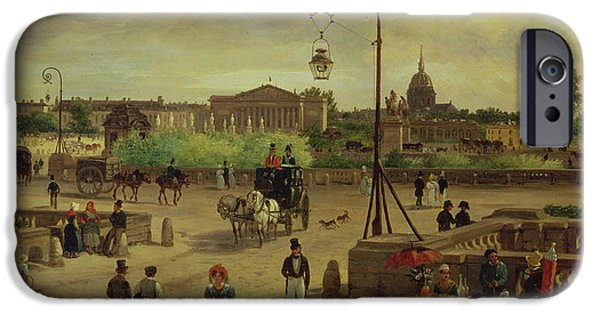 Dog In Landscape iPhone Cases - La Place de la Concorde iPhone Case by Giuseppe Canella