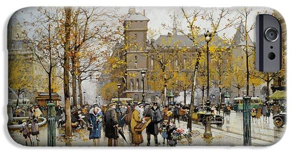 Eugene Galien-laloue iPhone Cases - La Place du chatelet iPhone Case by Eugene Galien Laloue
