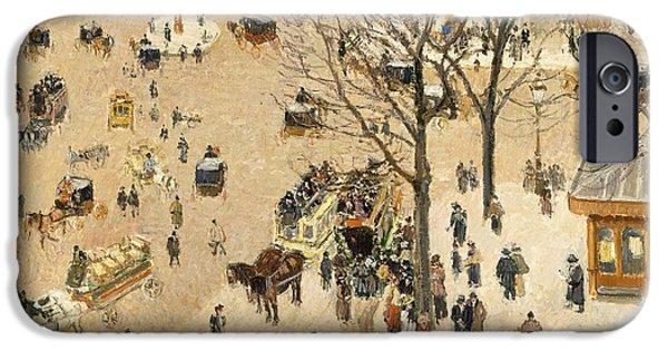 Pissarro iPhone Cases - La Place due Theatre Francais iPhone Case by Camille Pissarro