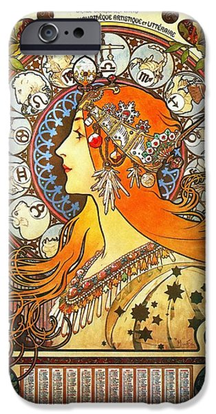 Signs Of The Zodiac Paintings iPhone Cases - La Plume Zodiac iPhone Case by Alphonse Mucha