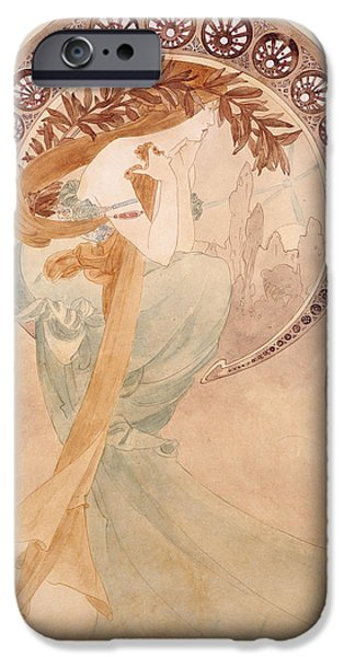 Young Adult iPhone Cases - La Poesie,  Watercolour On Paper iPhone Case by Alphonse Marie Mucha