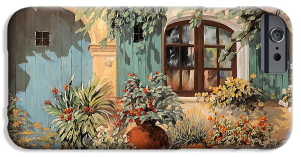 Rest Paintings iPhone Cases - La Porta Azzurra iPhone Case by Guido Borelli