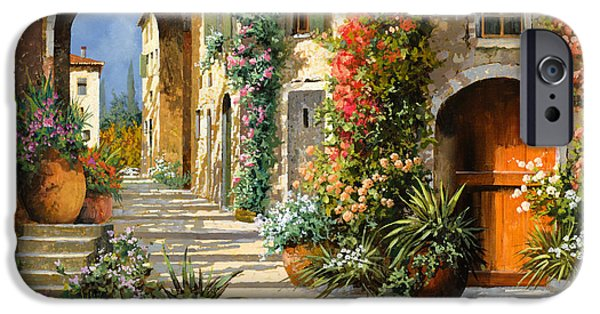 Morning Light Paintings iPhone Cases - La Porta Rossa Sulla Salita iPhone Case by Guido Borelli