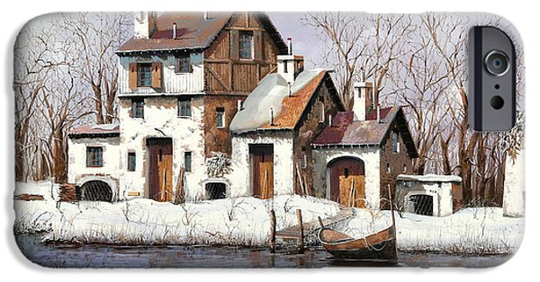 Snow Paintings iPhone Cases - La Prima Neve iPhone Case by Guido Borelli