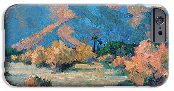 Morning Light Paintings iPhone Cases - La Quinta Cove - Highway 52 iPhone Case by Diane McClary