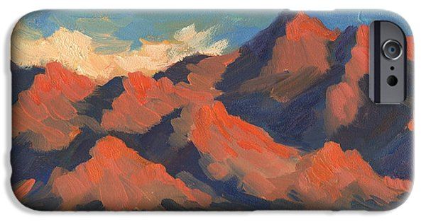 Morning Light Paintings iPhone Cases - La Quinta Mountains Morning iPhone Case by Diane McClary