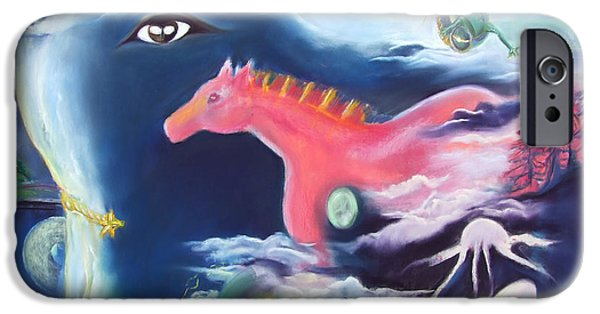 Pink Pastels iPhone Cases - La Reverie du Cheval Rose or Dream Quest of the Pink Horse. iPhone Case by Marie-Claire Dole