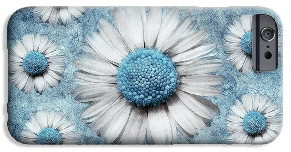 Floral Digital Art Digital Art Digital Art iPhone Cases - La Ronde Des Marguerites - Blue v02 iPhone Case by Variance Collections