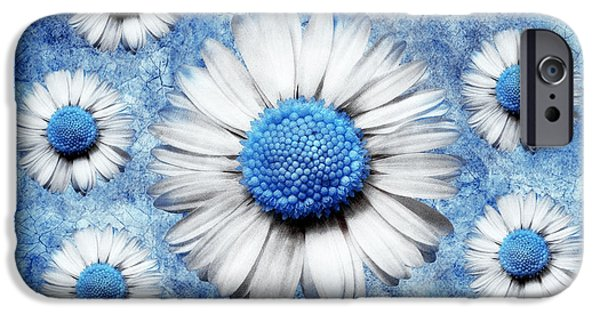Floral Digital Art Digital Art Digital Art iPhone Cases - La Ronde Des Marguerites - Blue v05 iPhone Case by Variance Collections
