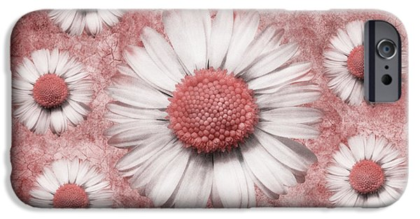 Floral Digital Art Digital Art Digital Art iPhone Cases - La Ronde Des Marguerites - Pink 02 iPhone Case by Variance Collections