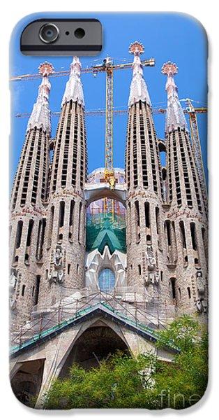 Secession iPhone Cases - La Sagrada Familia cathedral in Barcelona iPhone Case by Michal Bednarek