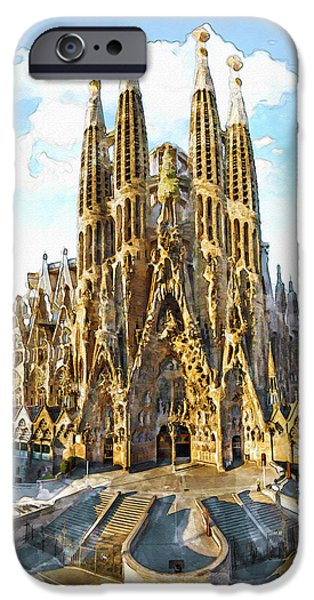 Buildings Mixed Media iPhone Cases - La Sagrada Familia watercolor iPhone Case by Marian Voicu