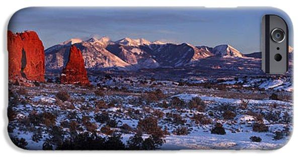 Snow Scene iPhone Cases - La Sal Alpenglow iPhone Case by Jacob W Frank