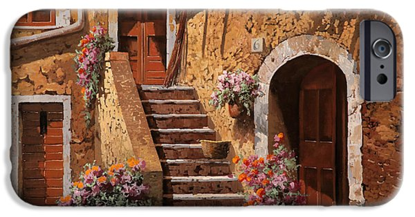 Steps Paintings iPhone Cases - La Scalinata In Cortile iPhone Case by Guido Borelli
