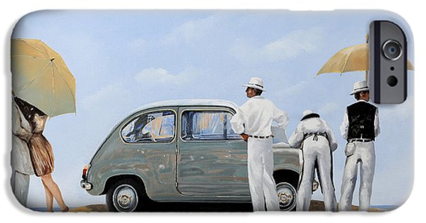 Vintage Car iPhone Cases - La Seicento iPhone Case by Guido Borelli